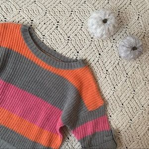 Poof | Girls 3/4 Sleeve Striped Sweater
